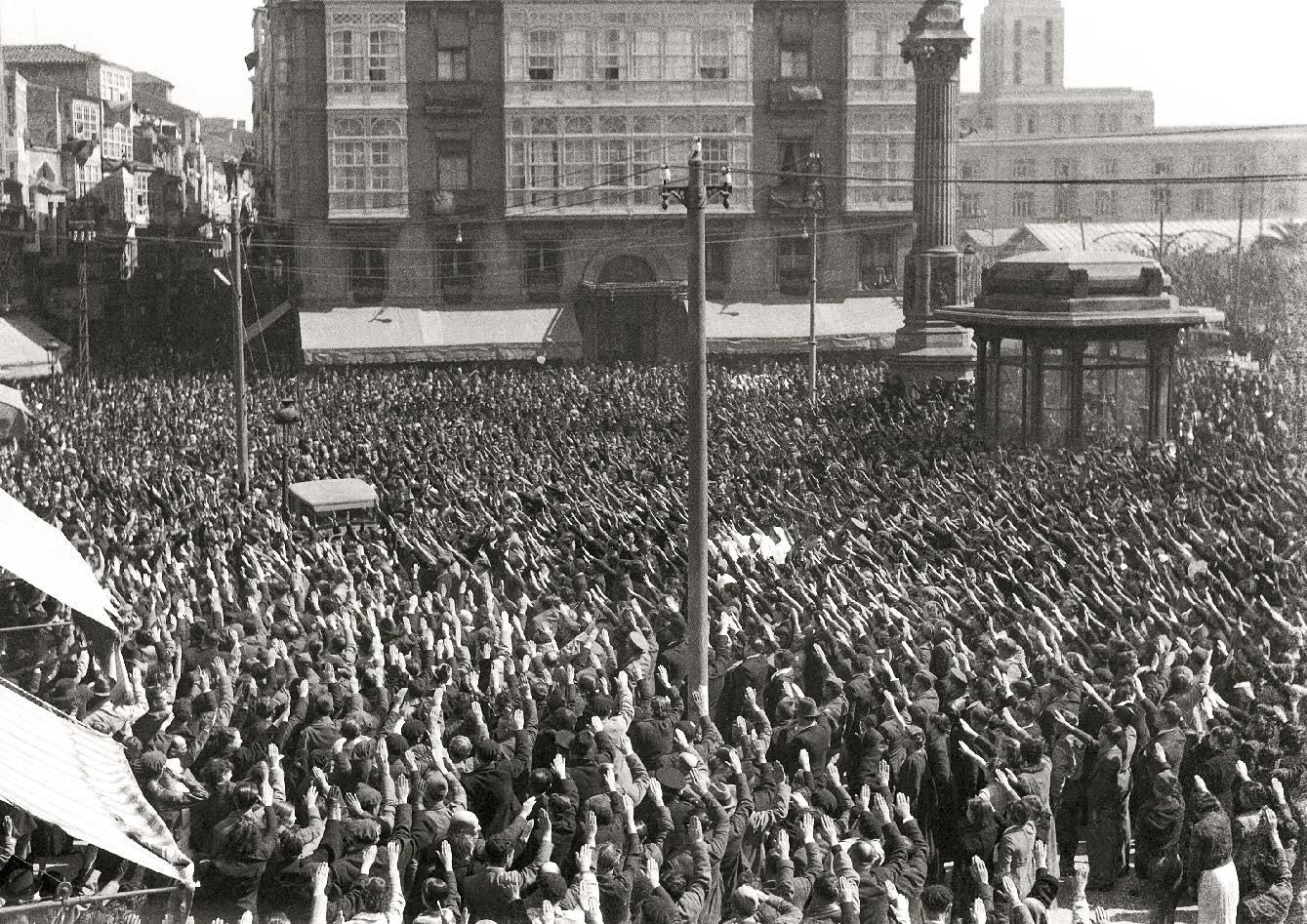 Manifestaci�n de apoio �s tropas de Franco no Obelisco. Arquivo Cancelo