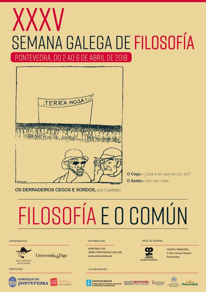 Os comúns centrarán a XXXV Semana Galega de Filosofía