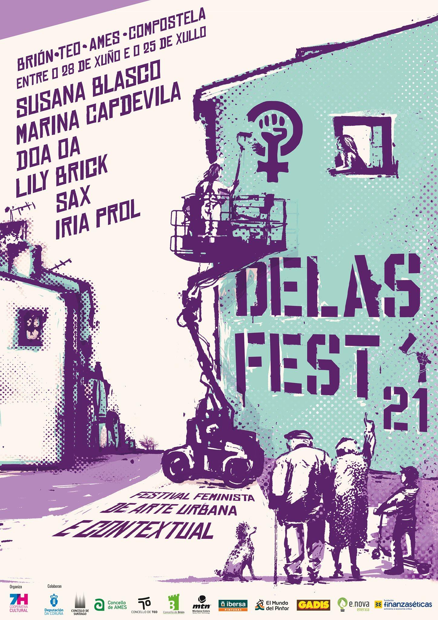 Brión, Teo, Ames e Santiago acollen o Festival Feminista de Arte Urbana e Contextual ata o 25 de xullo