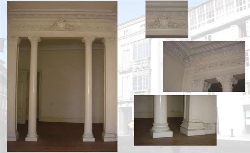 Vista columnas da entrada do Centro Social
