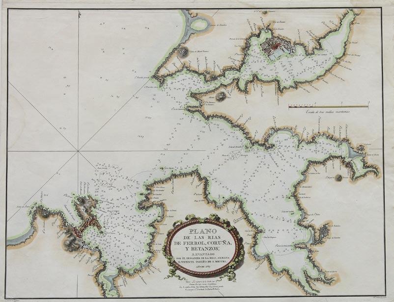 Plano de las rias de Ferrol, Coru�a, y Betanzos