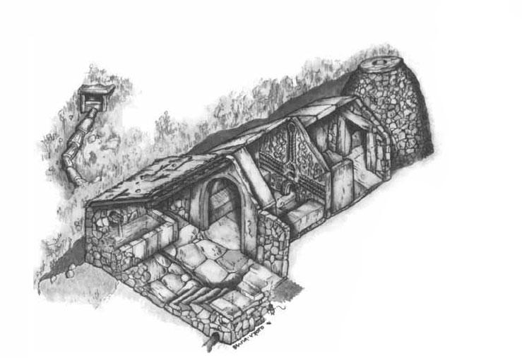 Reconstruci�n hipot�tica dunha sauna castrexa