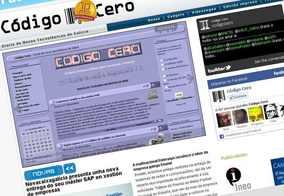 O web de Código Cero cumpre dez anos sendo un referente na información tecnolóxica en Galicia