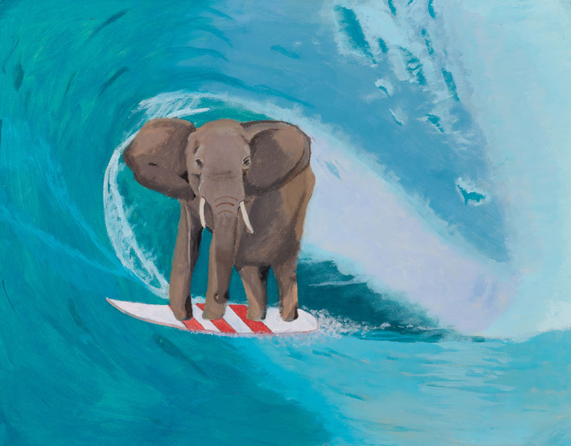 A obra <i>Elefante surfista</i> impúxose ao resto de finalistas da categoría