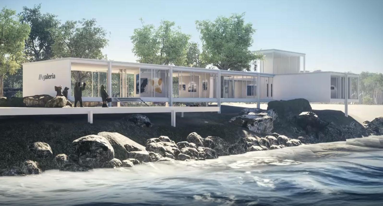 O espazo expositivo recrea unha galería na ribeira do mar