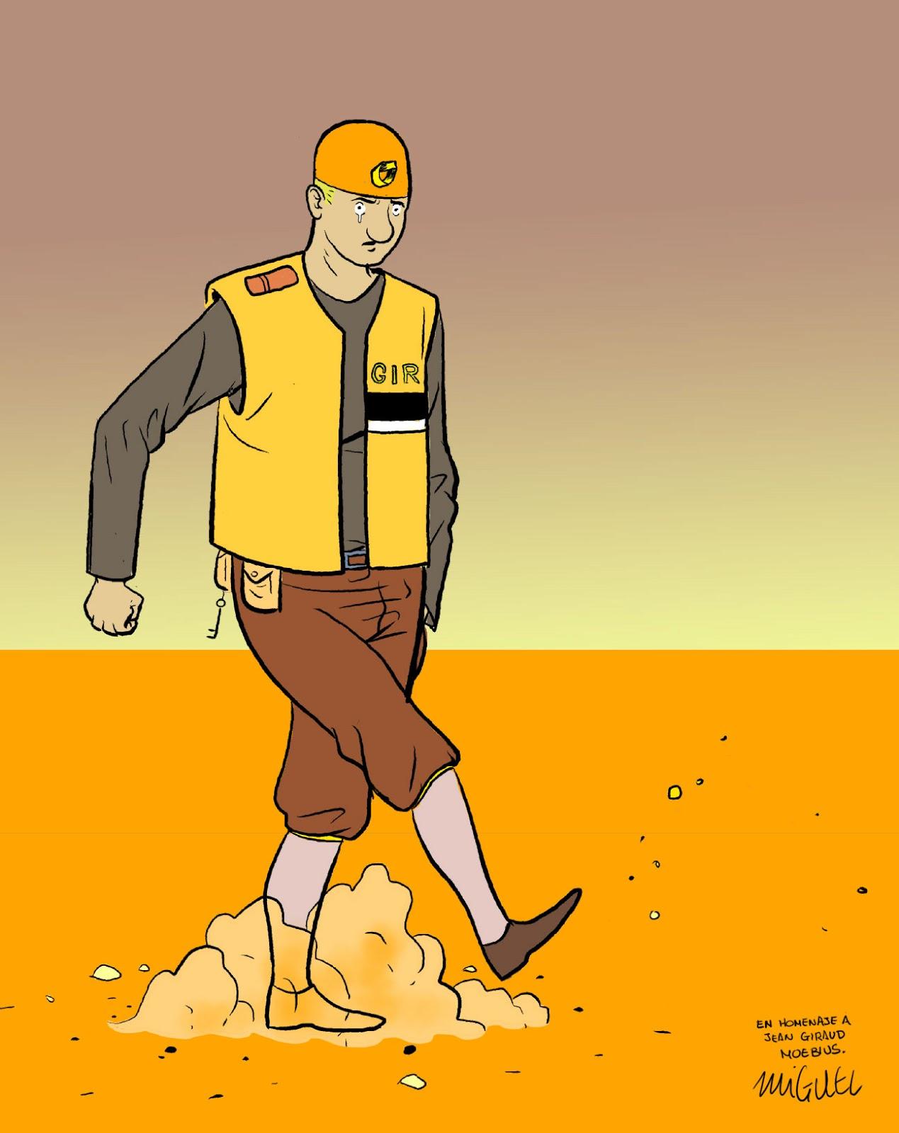 Ilustraci�n de Miguel Porto en homenaxe a Moebius