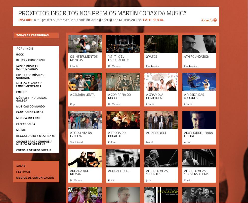 Os membros de músicos ao vivo votarán os finalistas ao longo deste mes