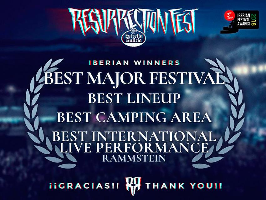 O Resurrection Fest 2017 arrasa nos galardóns Iberian festival Awards