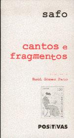 Portada de Cantos e fragmentos. Autor   Raúl Gómez Pato